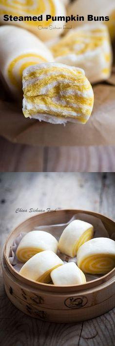 Steamed Pumpkin Buns | chinasichuanfood.com