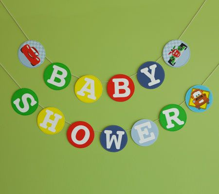 Let Lightning McQueen and friends help set the scene for a fantastic baby shower with this colorful CARS baby shower banner.