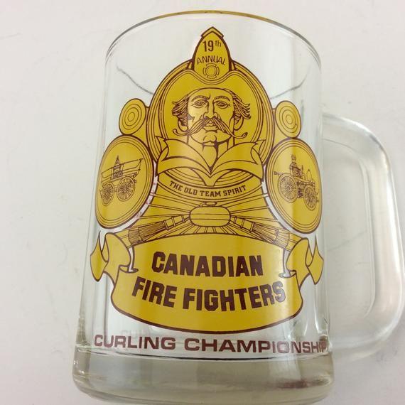 Canadian Firefighters Curling Championship Carling O Keefe Glass Beer Mug Beer Tankard Curling Brooms Curling Sto Glass Beer Mugs Beer Glass Beer Mug
