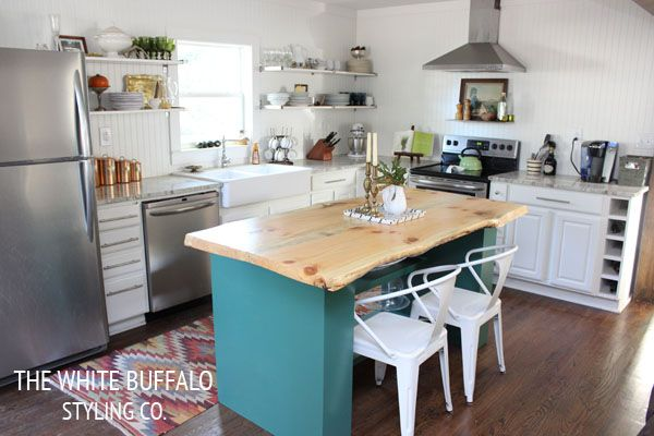 Colorful kitchen and home tour of The White Buffalo Styling Co - love the live edge countertop! eclecticallyvintage.com