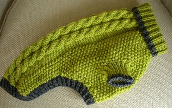 Dog Sweater  Cable Knit  Apple Green with Grey by bychancedesigns, $39.00
