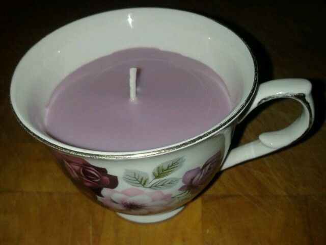 Homemade candle in a teacup £4.50