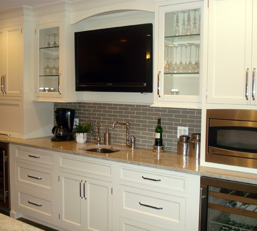white home bar with subway tiles