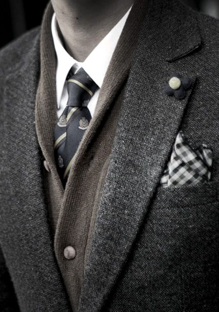 timeless and classic. Though, I only recently got Mike to wear button-downs with patterns... The men's cardigan under the jacket may be asking too much. Lol