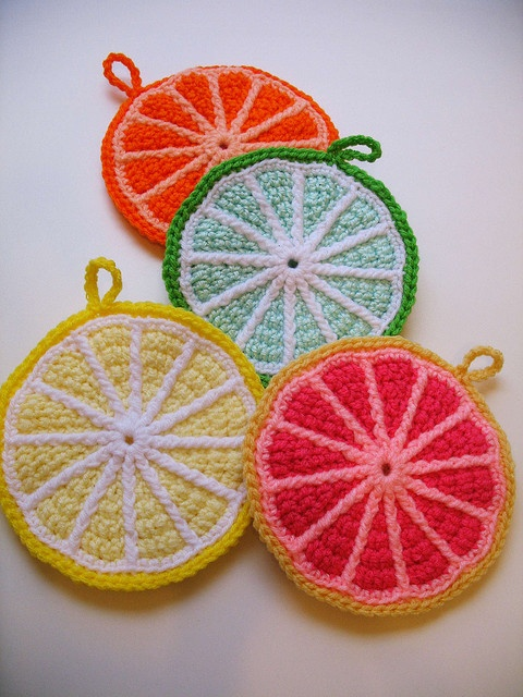 CROCHET - FREE - COASTER - citrus