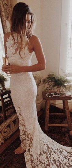 Romantic Boho Beach Wedding Dress,Lace Mermaid Princess Backless Wedding Gown