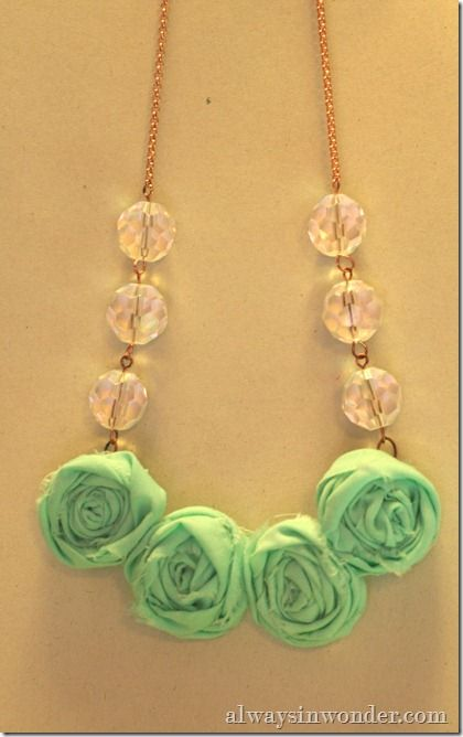 rosette fabric necklace