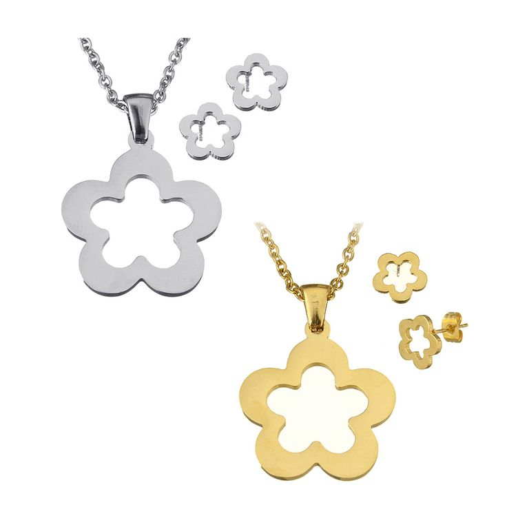 Stainless Steel Jewelry Sets high fashion stud earring silver tone gold plated pendent necklace Flower charm necklace set gifts
