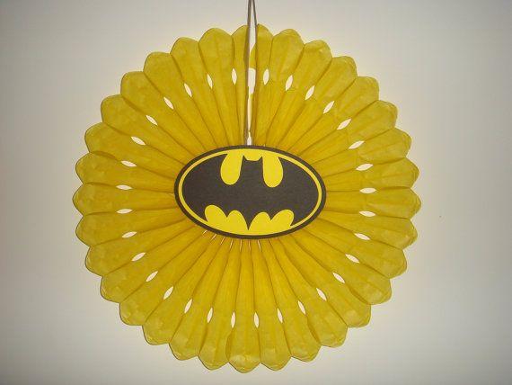 handmade Batman birthday party fan rosette wall decoration superhero superheroes Super Hero die cut