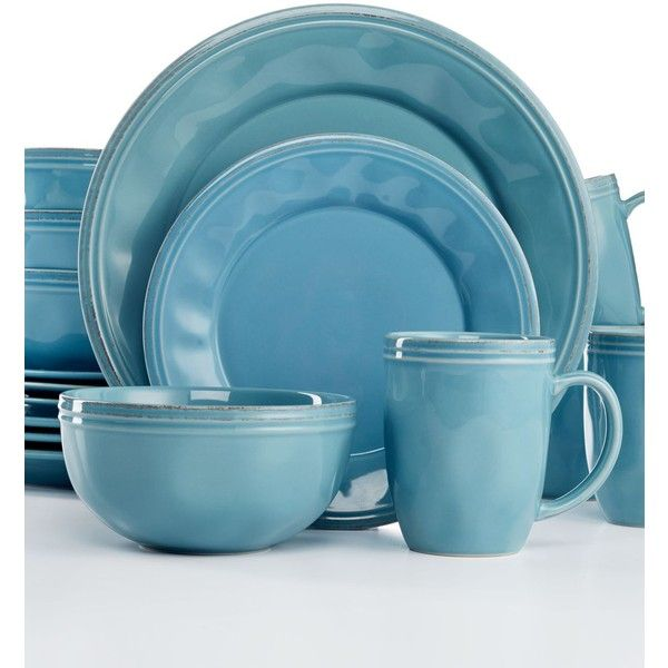 Rachael Ray Cucina Agave Blue 16-Pc. Set, Service for 4 ($140) ❤ liked on Polyvore featuring home, kitchen & dining, dinnerware, agave blue, rachael ray stoneware, blue stoneware, rachael ray dinnerware, rachael ray and stoneware dinnerware