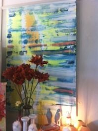 Kerry Armstrong art, delicious painting in great strong colours including teal, orange and yellow.....get in quick for an original painting by Kerry...as I am sure her paintings will be hugely popular120 cm x 180cm