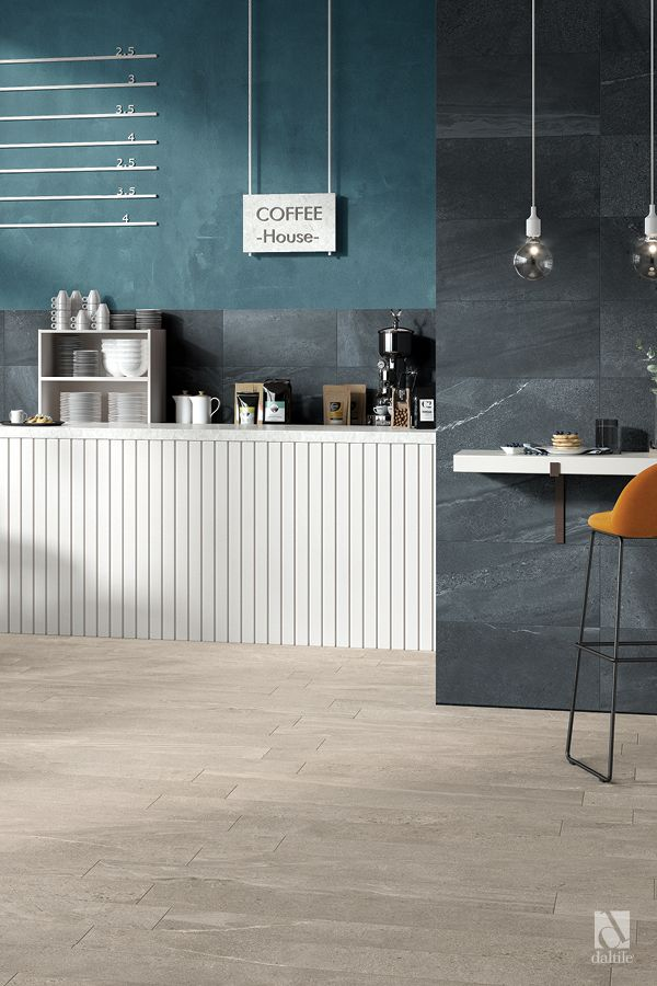 Society In District Slate On The Wall And In Civic Sand On The Floor Daltile Interior Design Flooring