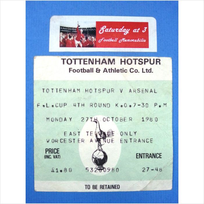 Tottenham Hotspur v Arsenal Football Ticket Stub 27/10/1980 League Cup