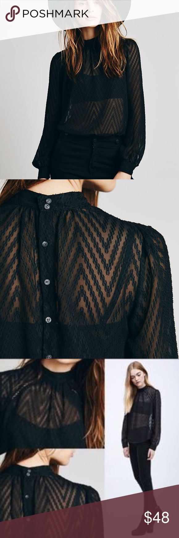 Free People Tucking Chevron Top (Black, S) Sheer mock neck blouse with a raised chevron pattern, gathered cuffs, and button back. Diagonal seams along the yoke feature net inserts. Machine Wash Cold. Like new. Free People Tops Blouses