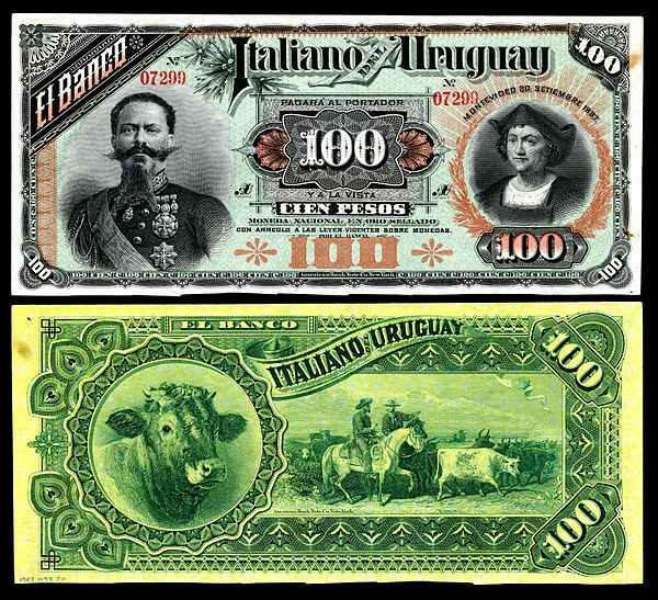 Banco Italiano dep Uruguay 100 pesos (1887).  Pick S215 or S214. I want it!!