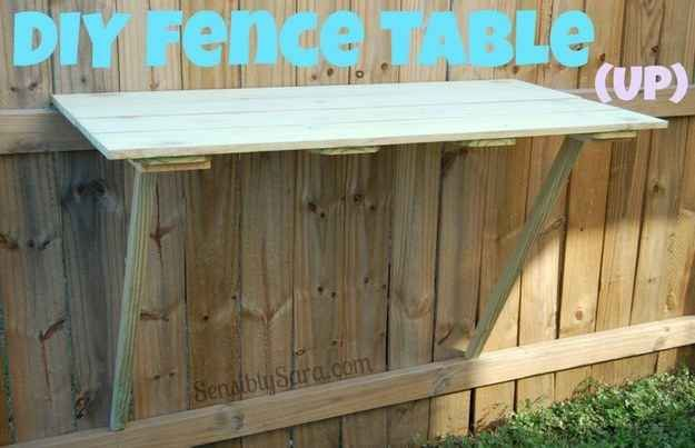 A DIY fence table is great for BBQs or just another surface to set drinks on.