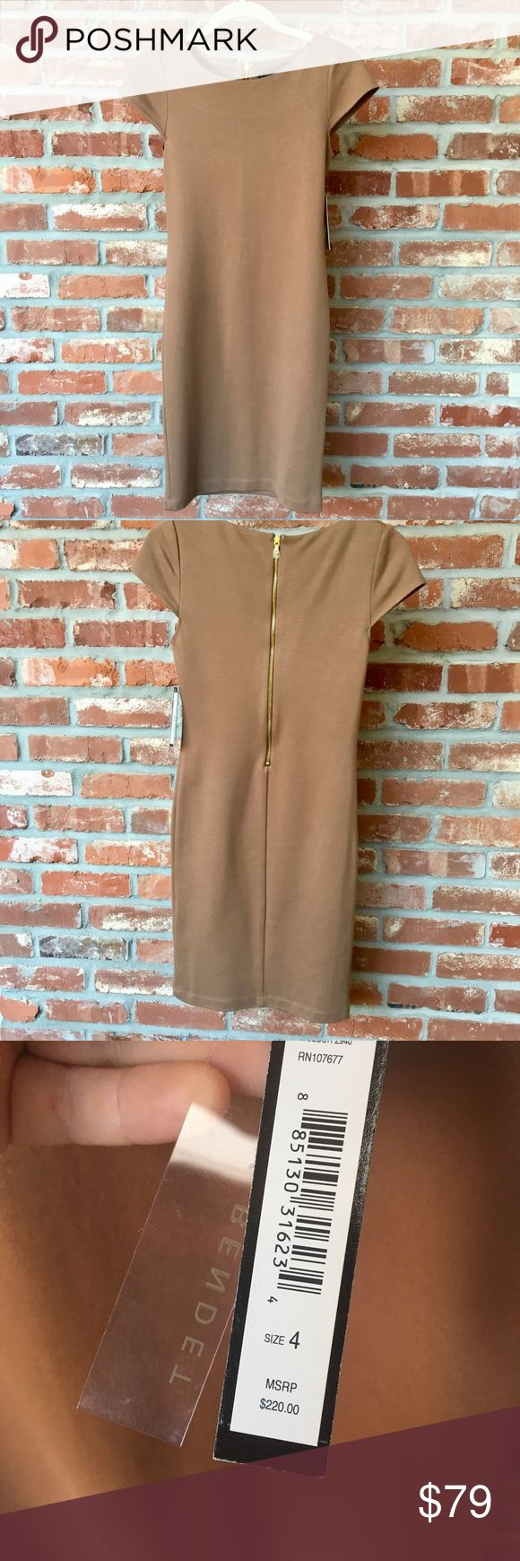 NWT - Alice + Olivia Tan Dress Perfect for any occasion!  Alice + Olivia light brown sheath.  Hugs curves, while still being conservative.  Runs small, which is why I have it listed as a 2. Alice & Olivia Dresses