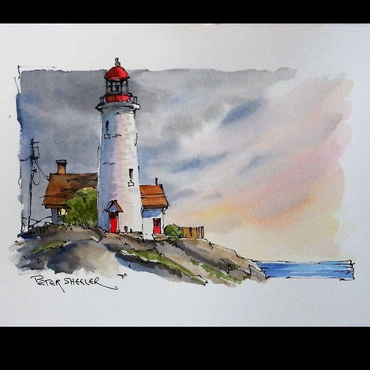 "Linie ""Sunset Lighthouse"" und Waschaquarell. Neues YouTube-Video. Neuestes Video …"