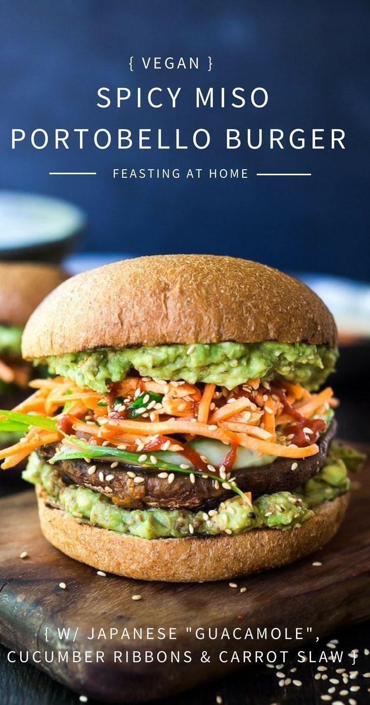 Gegrillter veganer Portobello-Champignon-Burger na…