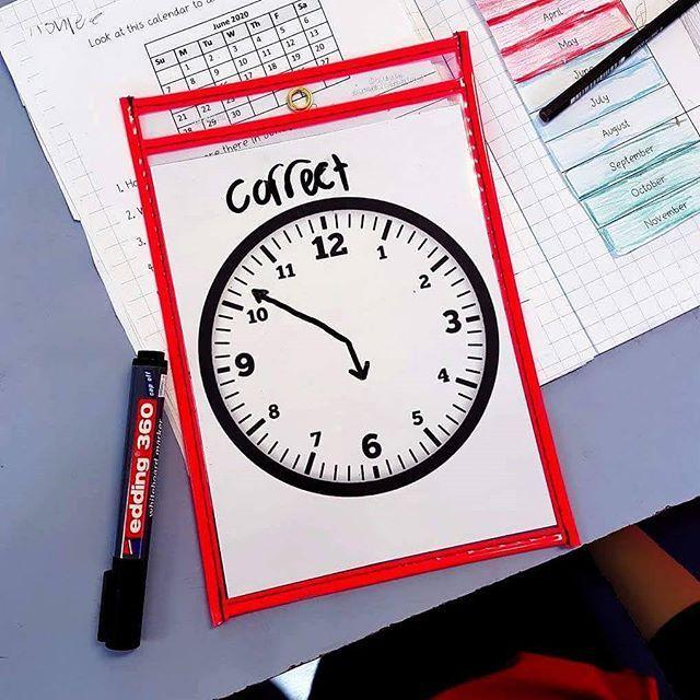 Dry-erase-board-math-time-teaching-analogue-clock-measurement