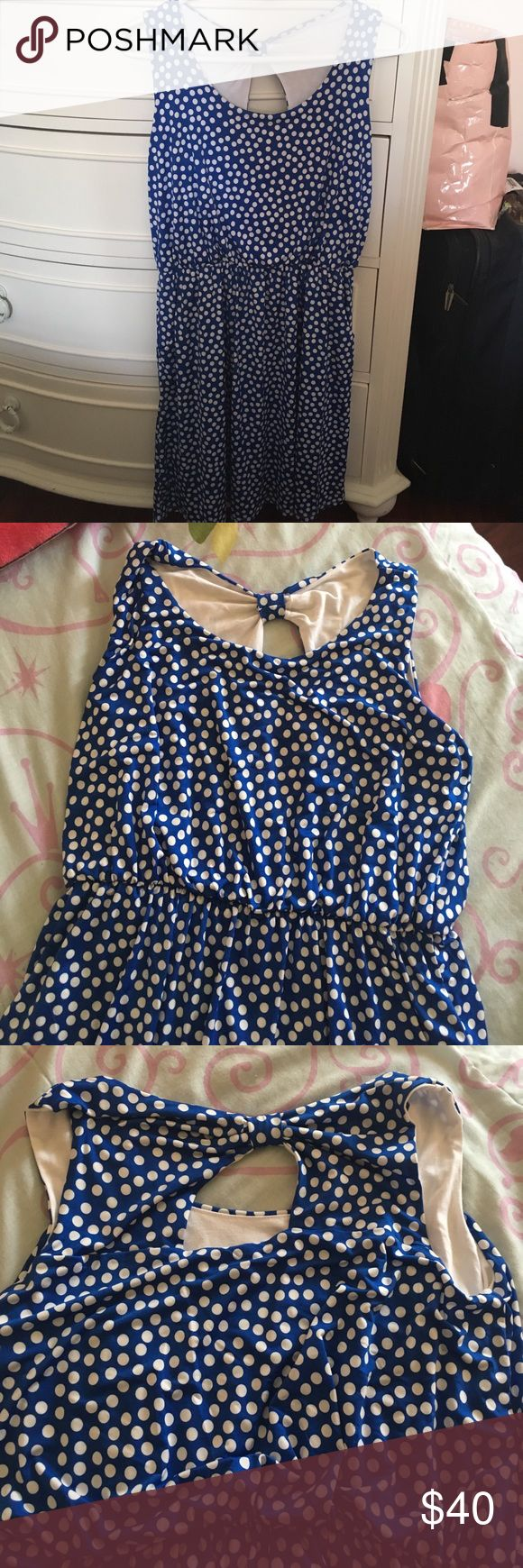 Lovely blue polka dot dress Offers accepted ✅ Trades accepted ✅ 93% Polyester 7% Spandex 🍃 Medium Petite dress 👗 NWOT🔅Questions? Ask them below! 💞 Forever 21 Dresses