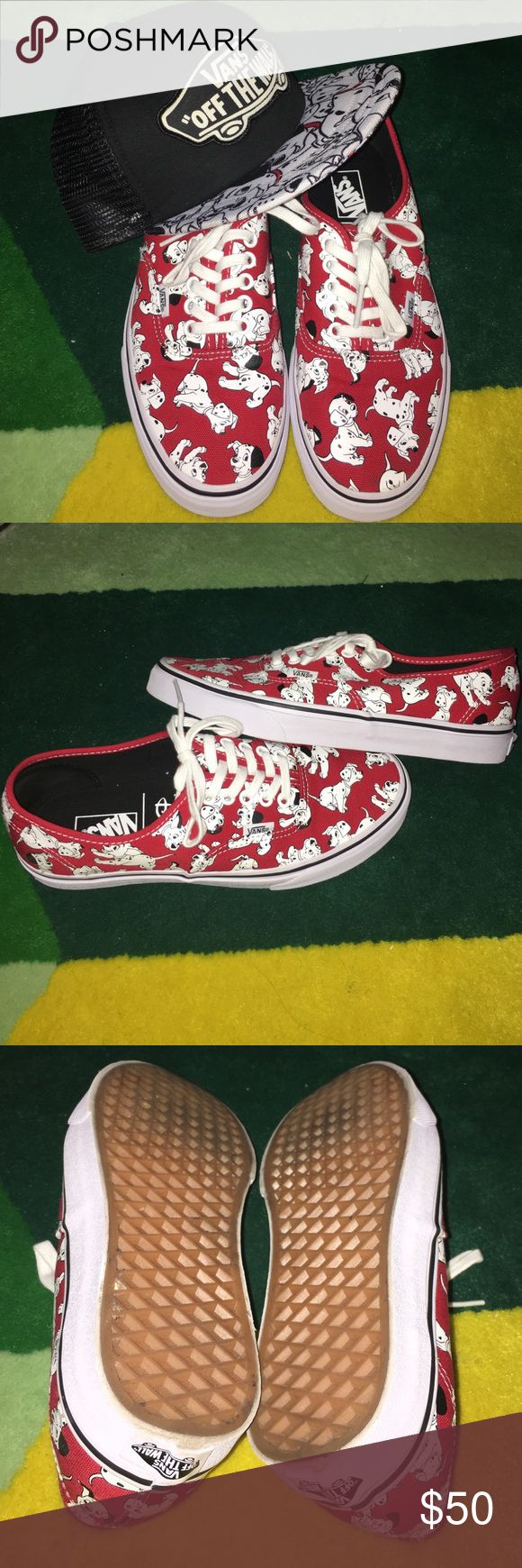 Vans Dalmatian shoes Dalmatian shoes size 9. Only used once at Disney. With matching hat. Really cute. Price is for the shoes and the hat in combination. Vans Shoes Sneakers