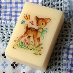 Soap with transfer on...i had these...everybody got one or two for Chirstmas..............