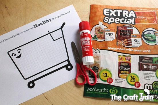"Have kids cut out the healthy food they find in the grocery add and paste them into their hand out with a picture of a grocery cart on it saying ""Fill me up with HEALTHY foods you like to eat!"""