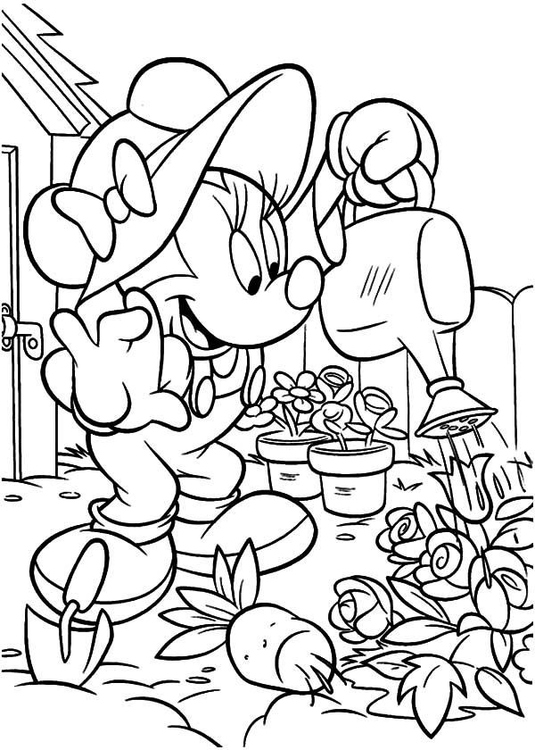 Minnie Gardening Coloring Pages 001 With Images Minnie Mouse