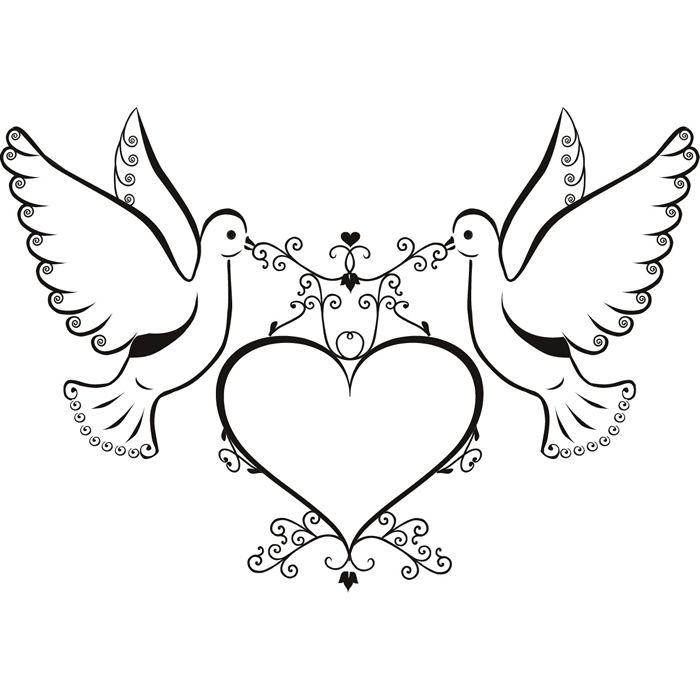 Tauben und Herz-Wand-Aufkleber Love Wandtattoo Kunst | eBay