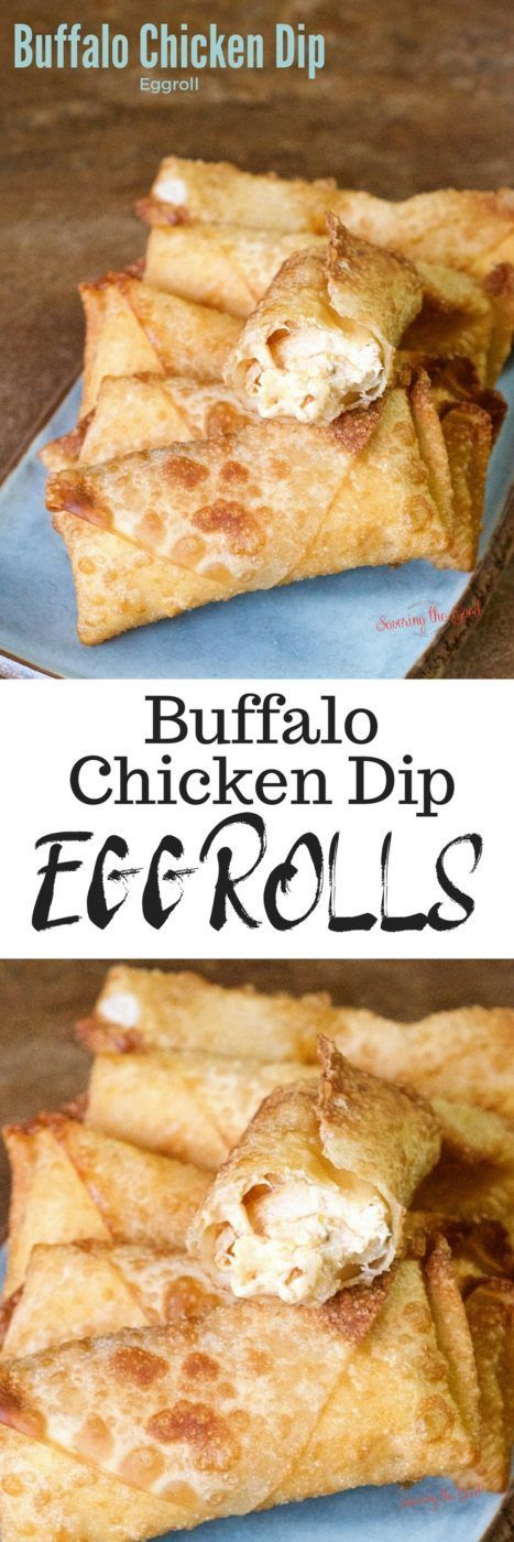 Buffalo chicken dip is a great combination of chicken, Frank's Red Hot sauce, cream cheese and blue cheese dressing and it is AMAZING on tortilla chips. But I wanted to take this dip to the next level! Buffalo Chicken Egg Rolls. These buffalo chicken egg rolls are the perfect football food. #buffalochicken #buffalochickendip