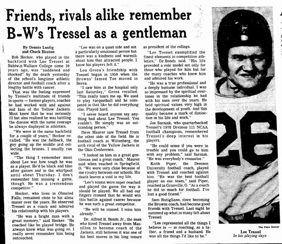 "While researching his family tree, genealogist Scott Phillips learned about his brother-in-law's father, Lee Tressel—a member of the inaugural class inducted into the College Football Hall of Fame; article published in the Plain Dealer (Cleveland, Ohio), 17 April 1981. Read more on the GenealogyBank blog: ""Making an All-Inclusive Family Tree through Newspaper Research."""