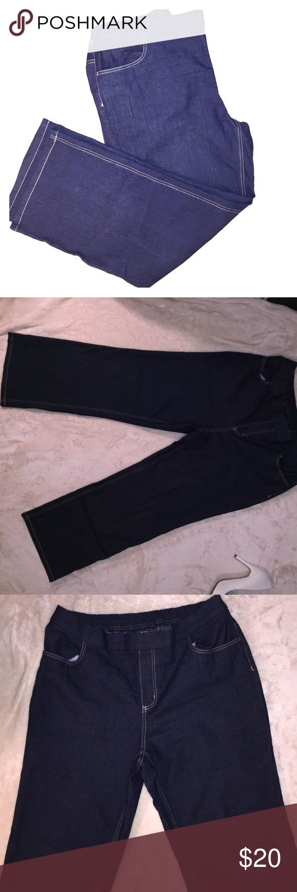 Women's stretchy wide legged dark jeans. White stag brand women's wide legged jeans. Like new. Only worn once, elastic on waste to give you comfort feeling. Size Xlg(16-18) petite. Length:38inch wide:from waist: 18 inch with stretchable elastic band. White Stag Jeans Flare & Wide Leg