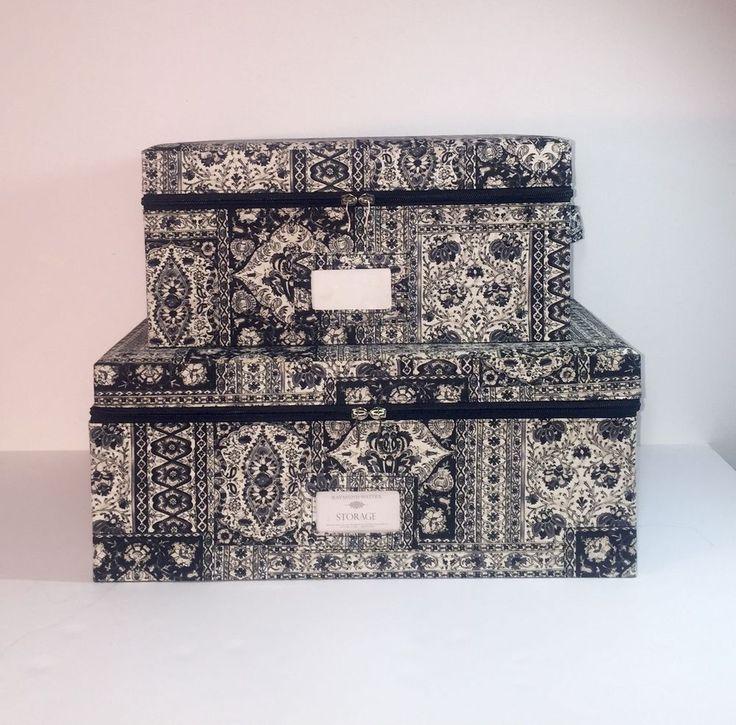 Set Of 2 Raymond Waites Decorative Cloth Zippered Storage