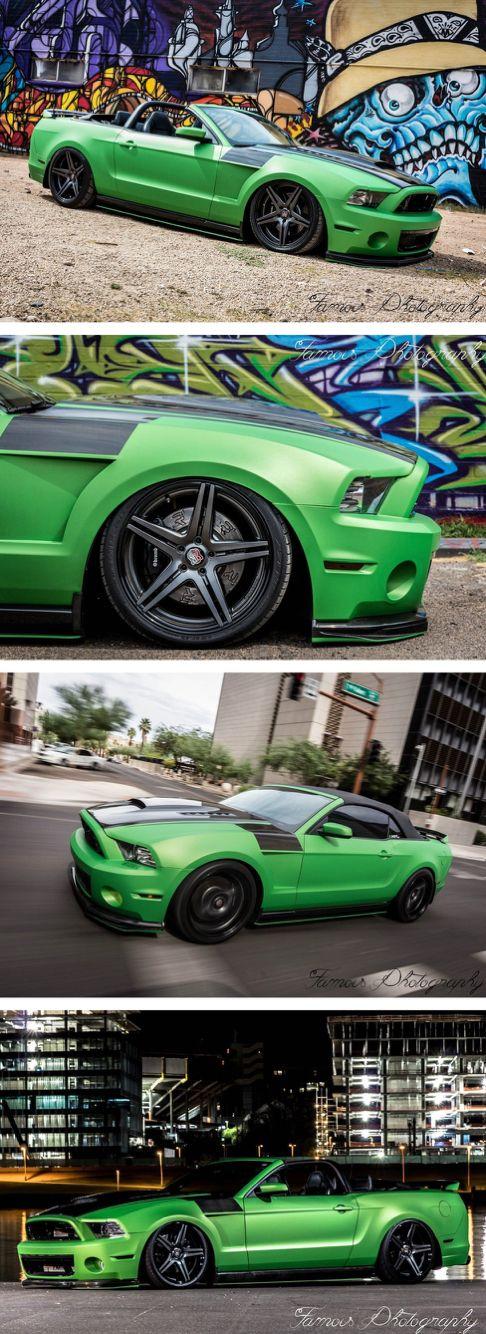 Sick Mustang wrap by Echelon Autosports. Wrapped with Avery 900 Matte Metallic Green.  www.eawraps.com