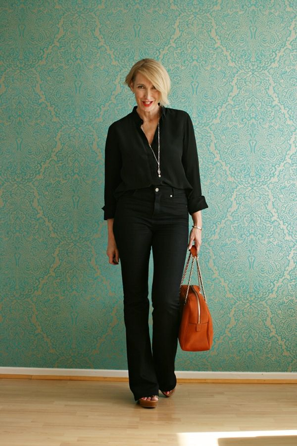 A fashion blog for women over 40 and mature women Blouse: & other Stories Flared Jeans: Selfnation Sandals: Ugg Australia  Bag: Gucci