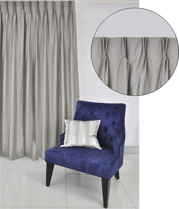 Double finger Dutch pinch pleat curtain header