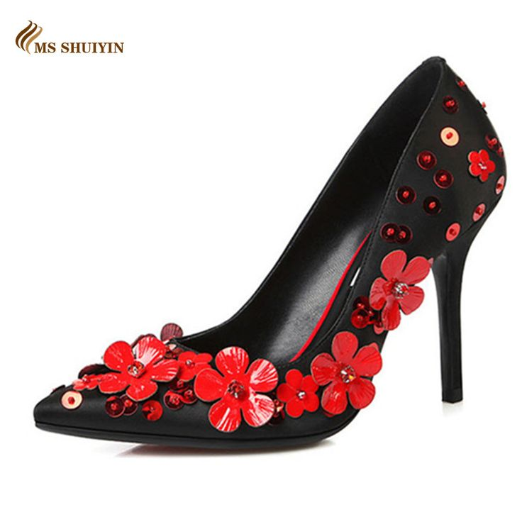 2016 женщины насосы Натуральной кожи острым носом цветы Красные нижние высокие каблуки Весна осень партия свадебные туфли женщина на высоких каблуках купить на AliExpress