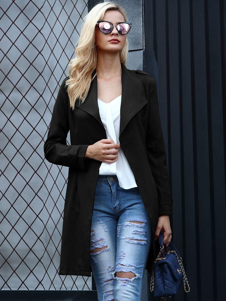 Stylish Plain Belted Cardigan Coat