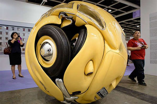 Playful Spherical Cars - Ichwan Noor Crumpled a Vintage Volkswagen into a Giant Toy Ball (GALLERY)