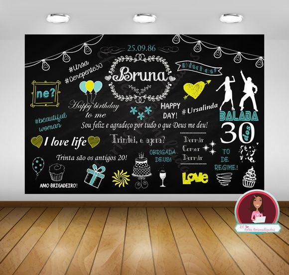 Painel de Chalkboard - Arte Digital, aniversário, casamento,chalkboard