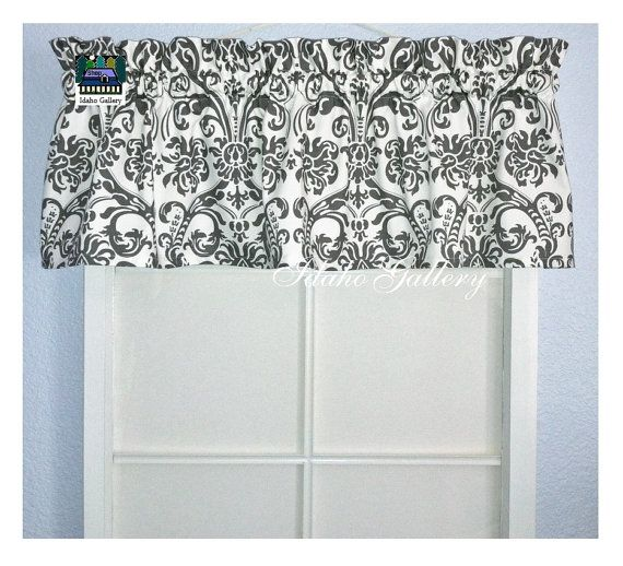 Gray and White Damask Bedroom Kitchen Curtain by Idaho Gallery