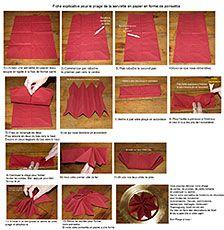 Pliage en papier réaliser un poinsettia avec une serviette en papier, decoration de table de Noel , recettes de cuisine et traditions en Europe. Information et Tourisme Européen.