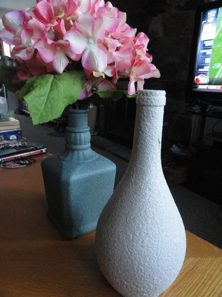 Used Textured Spray Paint to paint these old liquor bottles!