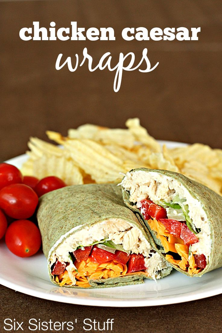 Chicken Caesar Wraps on SixSistersStuff.com- perfect for spring and summer meals! No cooking required!
