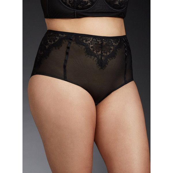 Torrid Mesh & Lace High Waist Panty ($17) ❤ liked on Polyvore featuring plus size women's fashion, plus size clothing, plus size intimates, plus size panties, rich black, plus size sexy panties, womens plus size panties, plus size high waisted panties, sexy lace panties and plus size lace panties