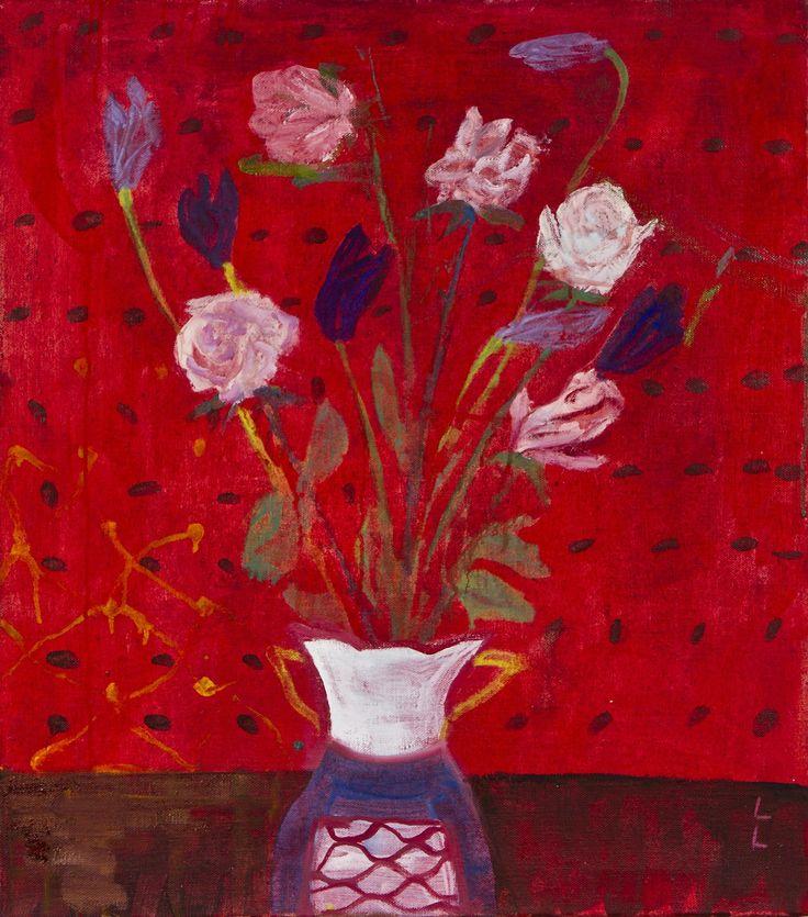Leena Luostarinen: Kukkia, öljy, 73x65 cm - Hagelstam K138