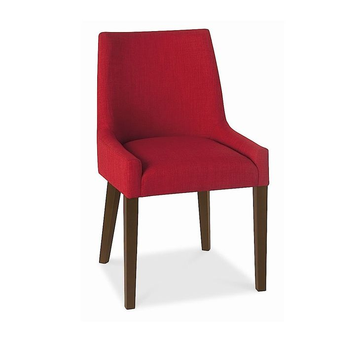 Alex Red Upholstered Dining Chair With Walnut Legs