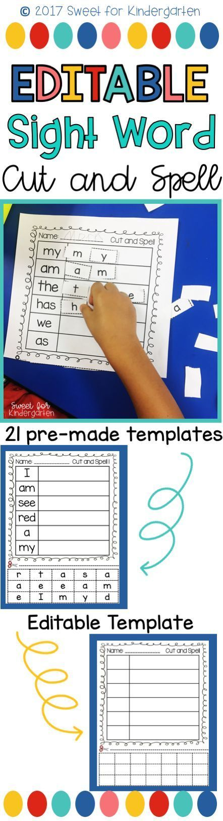 Editable Sight Word Worksheets- Just type in your weekly sight words and print! Your students can practice cutting and spelling while learning how to spell their sight words. Great for Kindergarten, 1st, or 2nd Grade!