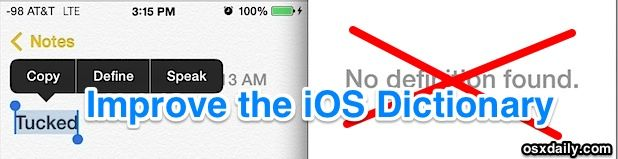 Add more definitions to the iOS Define feature and do away with No Definitions Found error